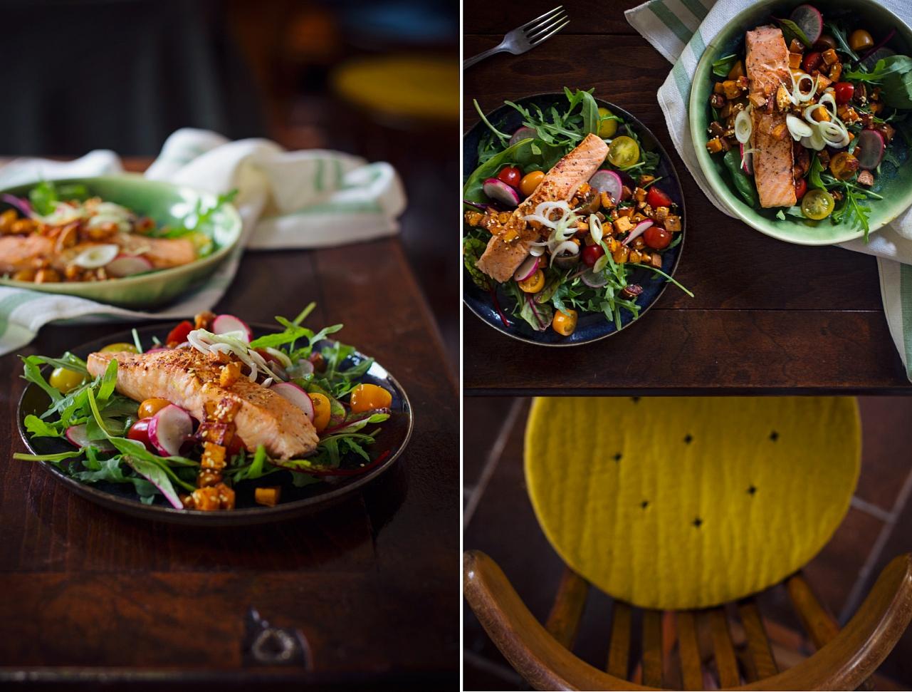 Salát s batátovými krutony a lososem