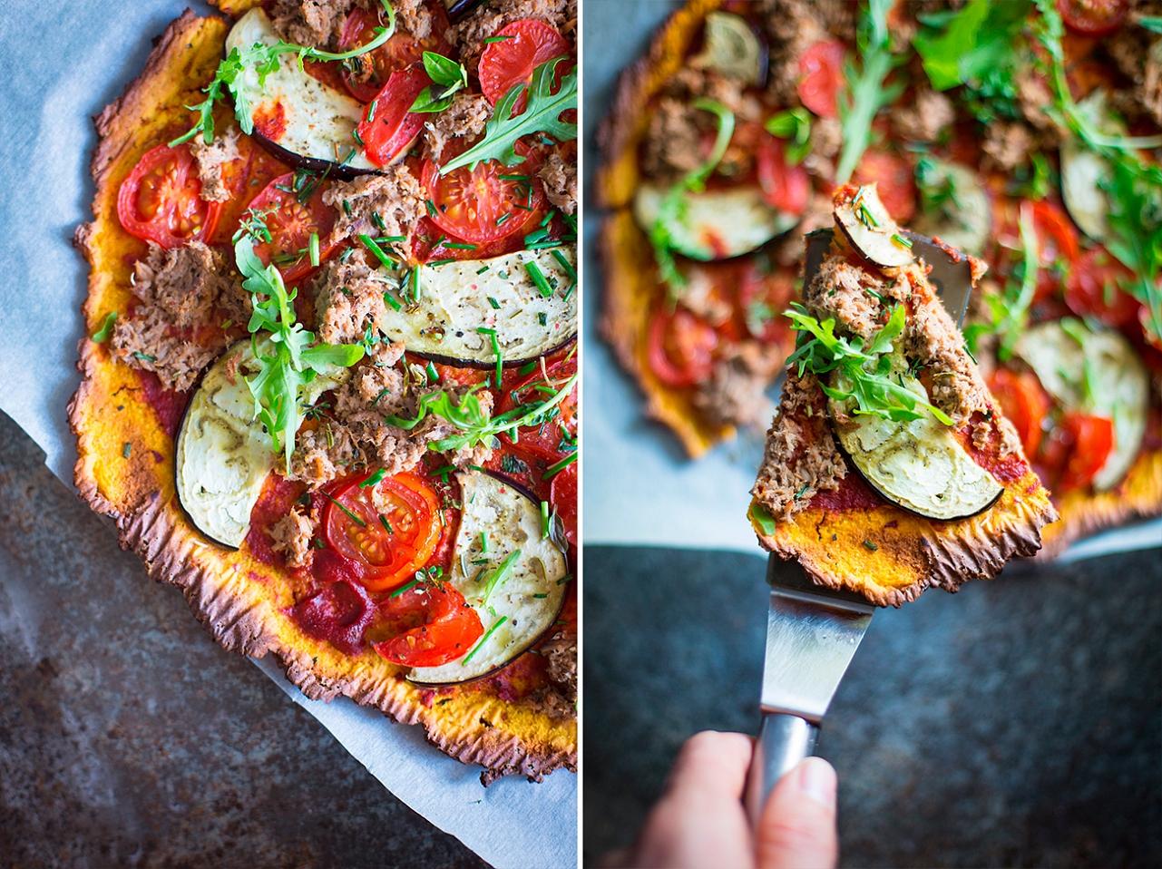 Batátová pizza - tuňák, lilek