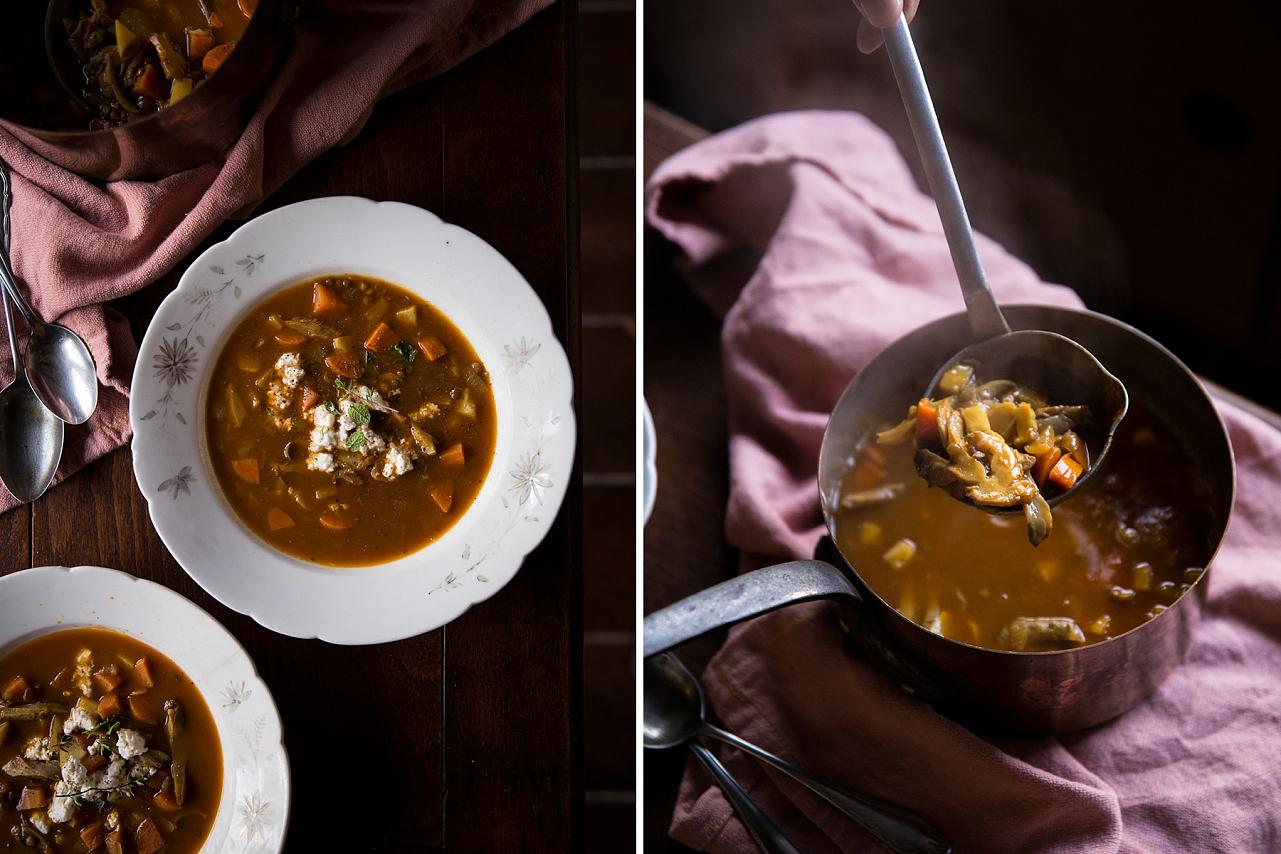 Čočková polévka s hlívou ústřičnou a fetou