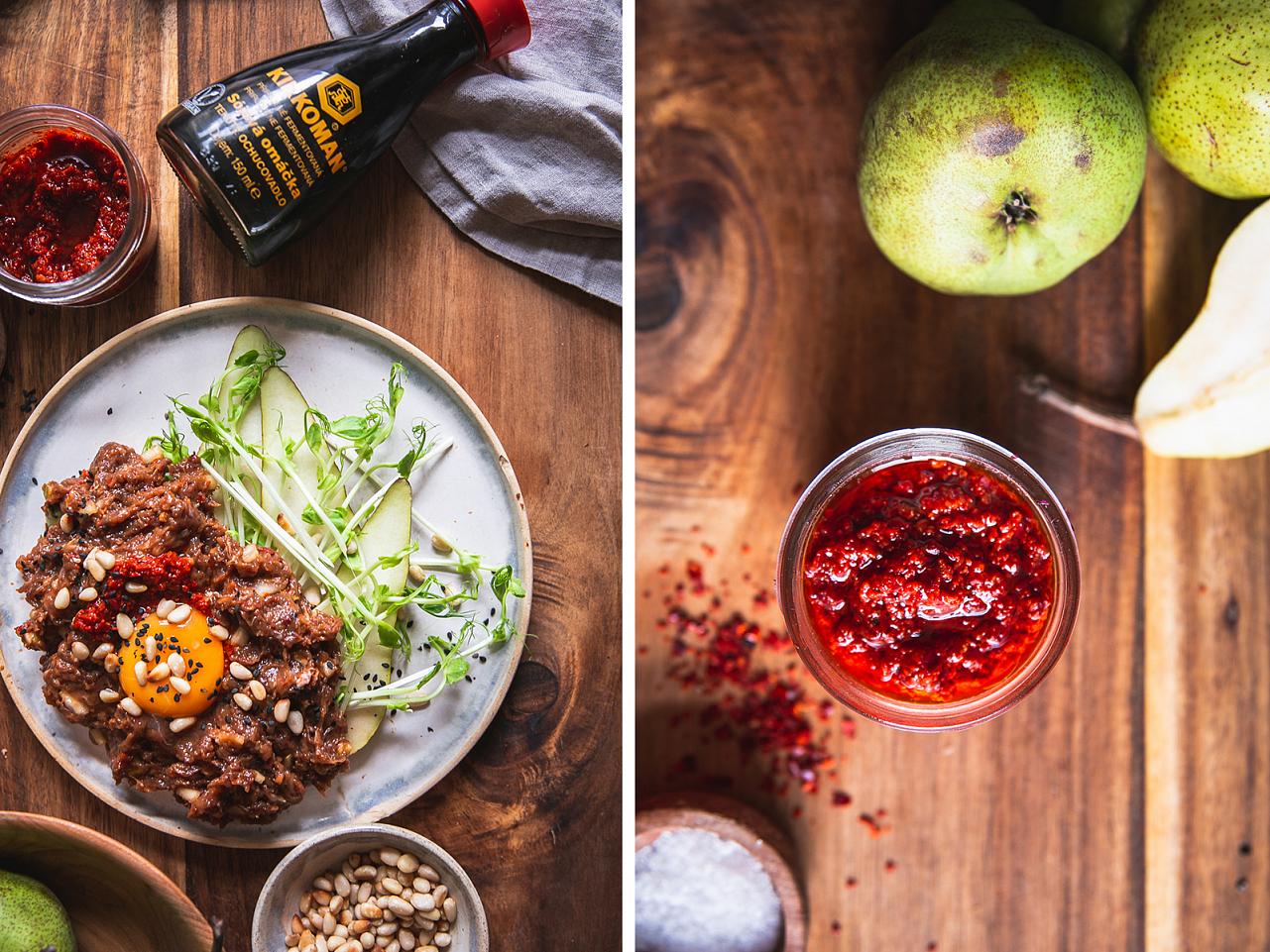 Tatarák s hruškou s domácí chilli pastou a fermentovanou sojovou omáčkou